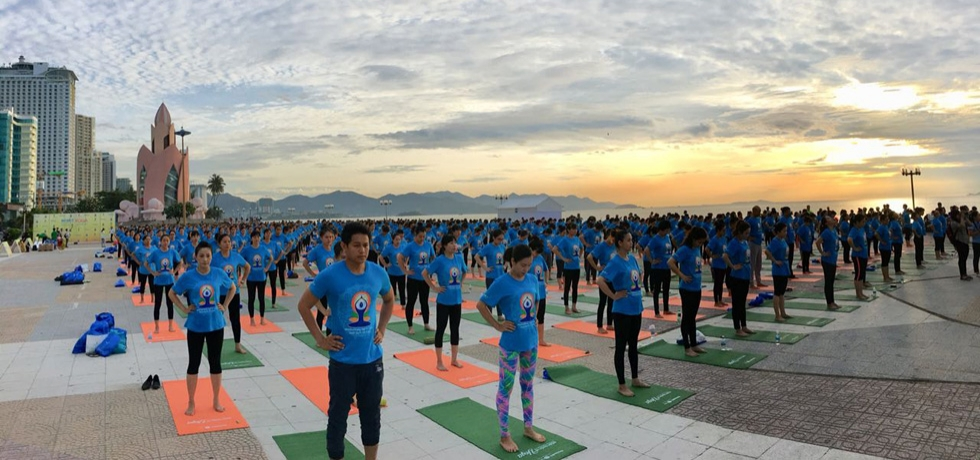 Celebration of 4th International Day of Yoga in Nha Trang, Vietnam on 7 July 2018.