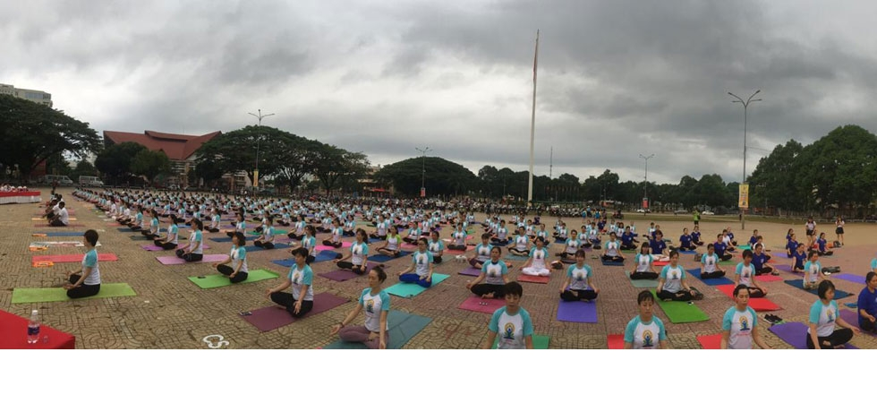 Celebration of 5th International Day of Yoga in Buon Ma Thuot City, Dak Lak Province,Vietnam on 16 June 2019