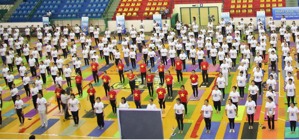 Celebration of 5th International Day of Yoga in Can Tho City in the Mekong Delta Region of Vietnam on 22nd June 2019