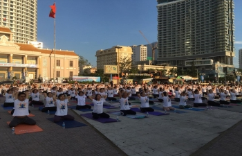 Celebration of 5th International Day of Yoga in Khanh Hoa Province, Vietnam on 15 June 2019