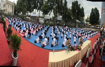 Celebration of 5th International Day of Yoga in Tien Giang Province, Vietnam on 21 June 2019