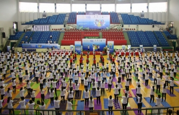 Celebration of 5th International Day of Yoga in Can Tho City of Mekong Delta Region, Vietnam on 22nd June 2019