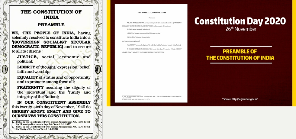 PREAMBLE OF THE INDIAN CONSTITUTION CONSTITUTION DAY