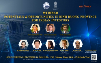 """Webinar on """"Potentials & Opportunities in Binh Duong Province for Indian Investors"""" (14 December)"""