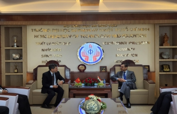 Visit of Ambassador Mr. Pranay Verma to HCMC University of Technology and Education on January 20, 2021.