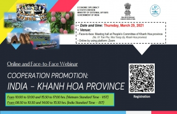 WEBINAR ON 'COOPERATION PROMOTION: INDIA - KHANH HOA PROVINCE' (25th March, 2021)
