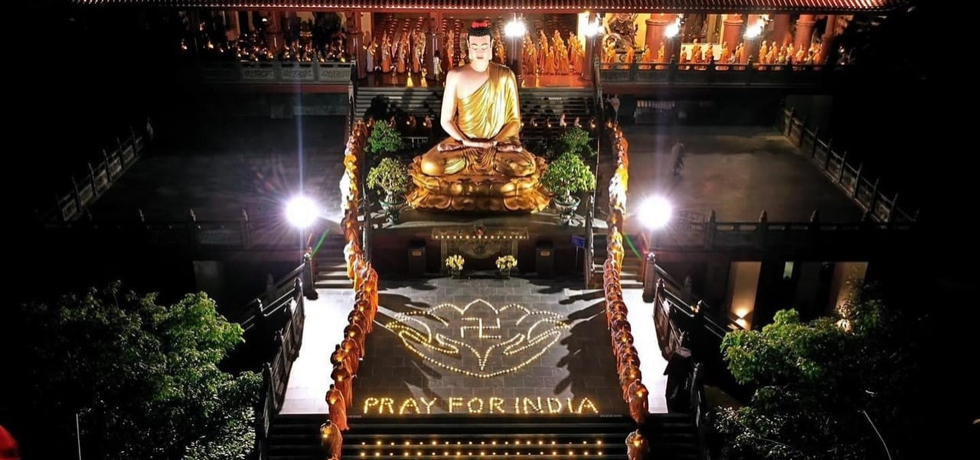 Special prayers and candles offered by 700 Buddhist Nuns of Vietnam Buddhist University, Ho Chi Minh City at Thanh Tam Pagoda, HCMC on 5th May, 2021 to 'Pray for India'.