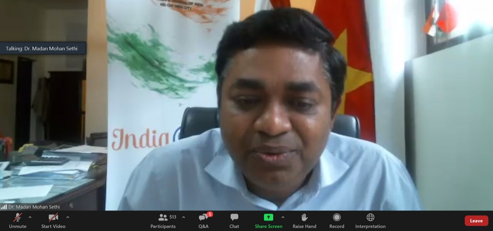 Remarks of Consul General Dr. Madan Mohan Sethi during Webinar 'India@75: Building the IT Capital of India' organized by Consulate General of India in HCMC on 8th September, 2021.
