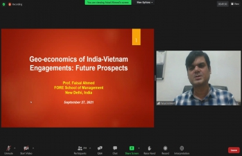 Virtual lecture on 'Geo-economics of India-Vietnam Engagements: Future Prospects' (27th September, 2021).