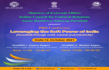 """International Conference """"Leveraging the Soft Power of India – Goodwill through Craft, Cuisine and Creativity"""" (16th October, 2021)"""